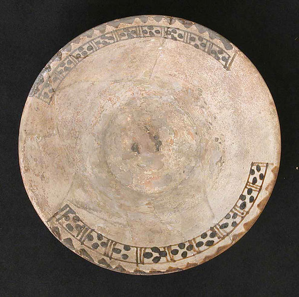 Bowl, Earthenware; white slip with brown decoration under glaze