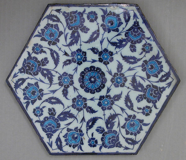 Hexagonal Tile with Floral Design, Stonepaste; polychrome painted under transparent glaze