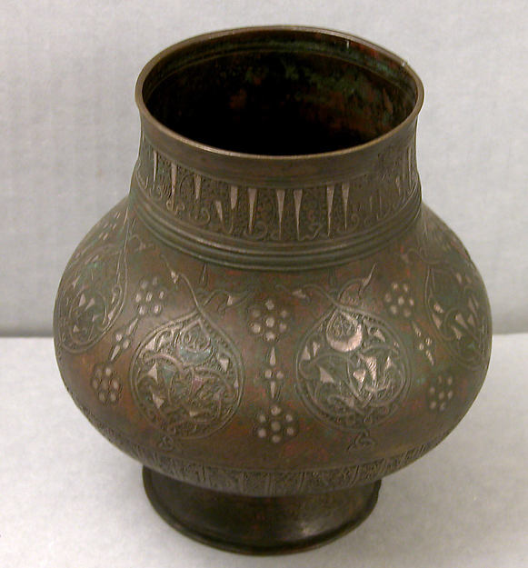 Vase, Bronze; engraved and inlaid with silver