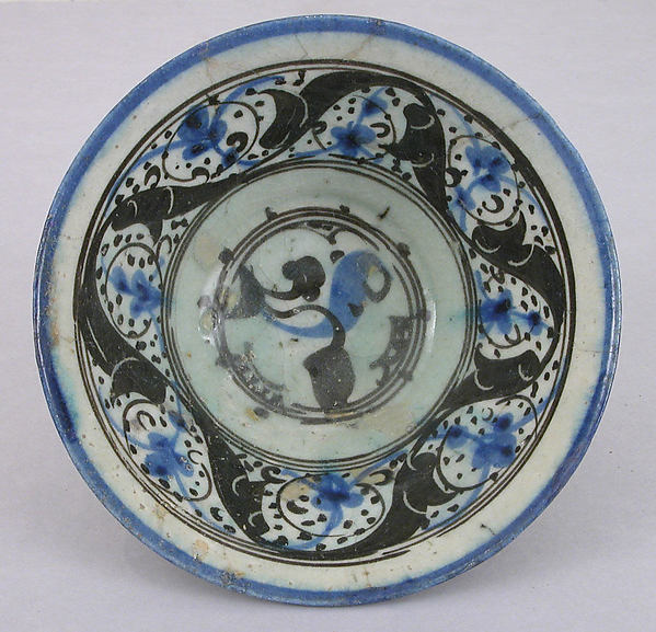 Bowl with Vegetal Motifs, Stonepaste; painted and incised under transparent glaze
