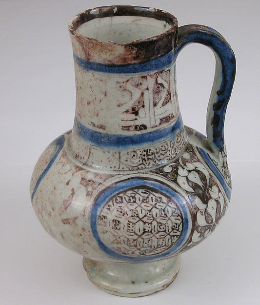 Ewer, Stonepaste; painted in luster and blue on opaque white glaze under transparent colorless glaze