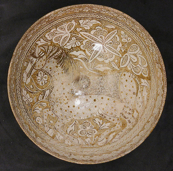 Bowl, Stonepaste; luster-painted over opaque white glaze