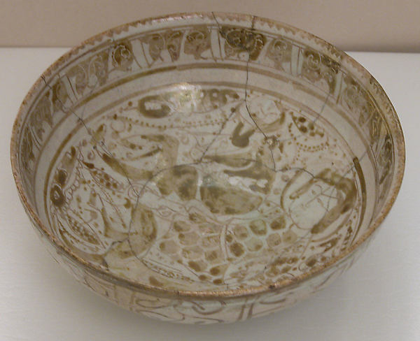 Bowl, Stonepaste; glazed and luster-painted