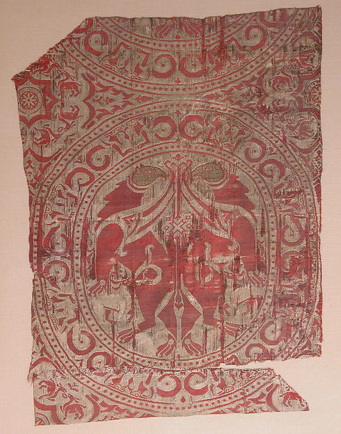 Textile Fragment from the Shrine of San Librada, Sigüenza Cathedral, Silk, metal wrapped thread; lampas