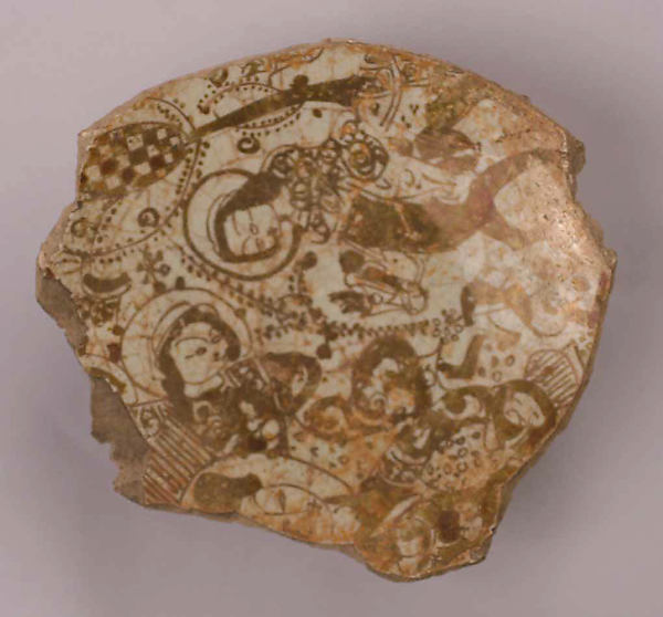 Fragment of a Bowl, Stonepaste; luster-painted and glazed