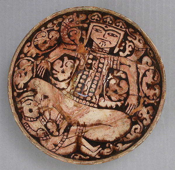 Bowl Depicting King Zahhak with Snakes Protruding from His Shoulders, Earthenware; slipped and carved under a transparent colorless, brown, and green  glaze