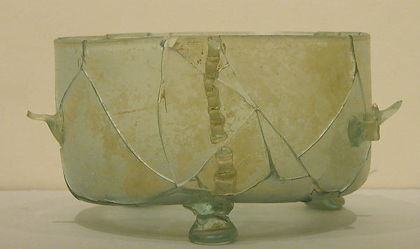 Three-Footed Bowl, Glass, greenish-blue; blown, applied handles, feet, and trails