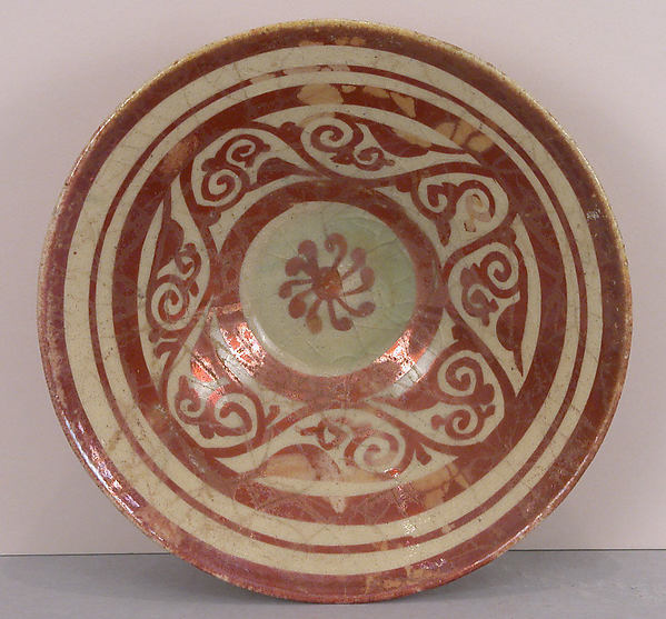"""""""Tell Minis"""" Bowl with Vegetal Scroll, Stonepaste; luster-painted on transparent glaze"""