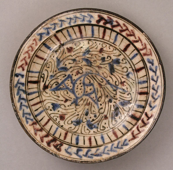 Dish, Earthenware; painted and glazed