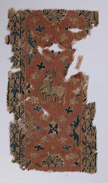 Fragment of Shoulder Band, Wool, linen; tapestry weave