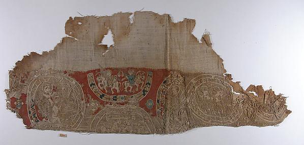 Fragment, Wool, linen; plain weave, tapestry weave
