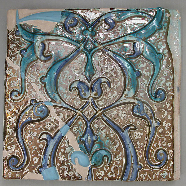 Tile, Stonepaste; overglaze luster-painted, molded