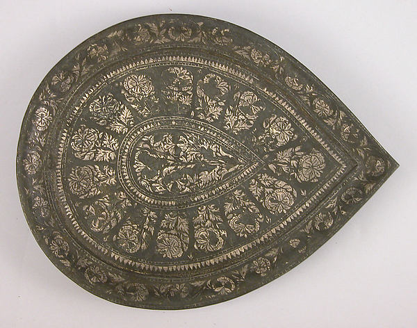 Plate, Zinc alloy; cast, engraved, inlaid with silver (bidri ware)
