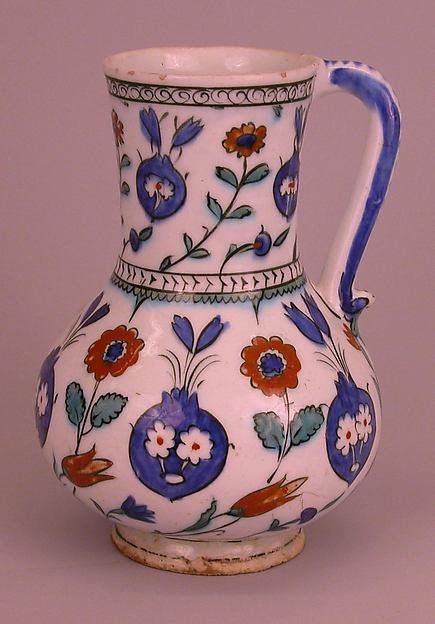 Ewer with Floral Design, Stonepaste; polychrome painted under transparent glaze