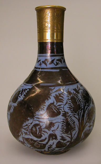 Bottle, Stonepaste; luster-painted on an opaque blue glaze under a transparent colorless glaze; gilt copper