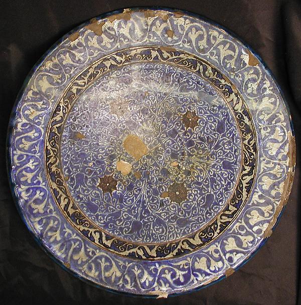 Dish, Stonepaste; underglaze painted
