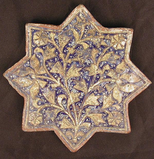 Three Tiles with 'Lajvardina' Glaze, Stonepaste; molded, overglaze painted, and gilded (lajvardina)