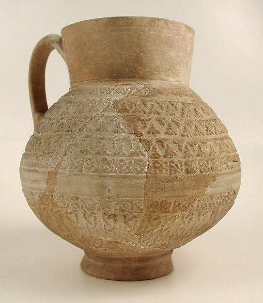 Ewer, Earthenware; molded decoration, unglazed