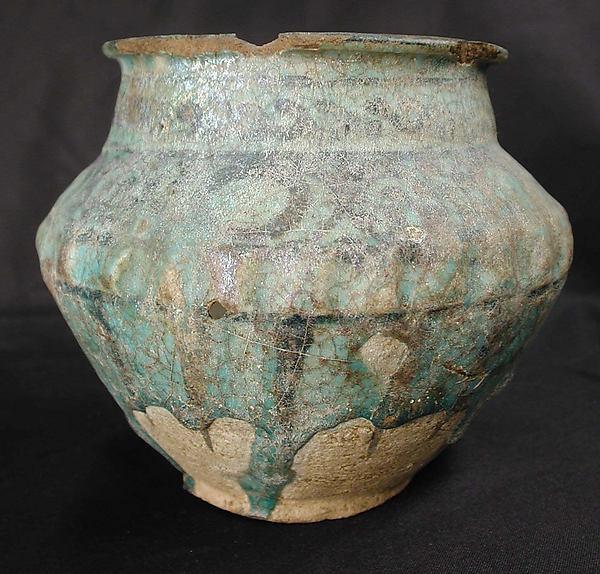 Jar, Earthenware; painted in black under turquoise glaze