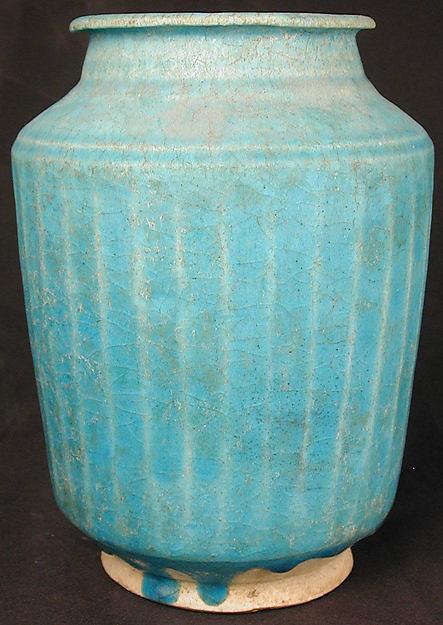 Ribbed Jar, Stonepaste; monochrome glazed