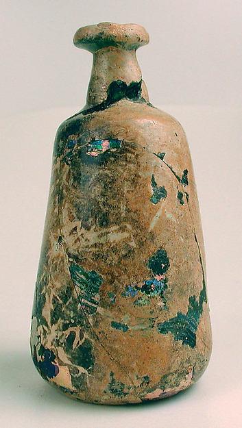 Bottle, Glass, green; blown