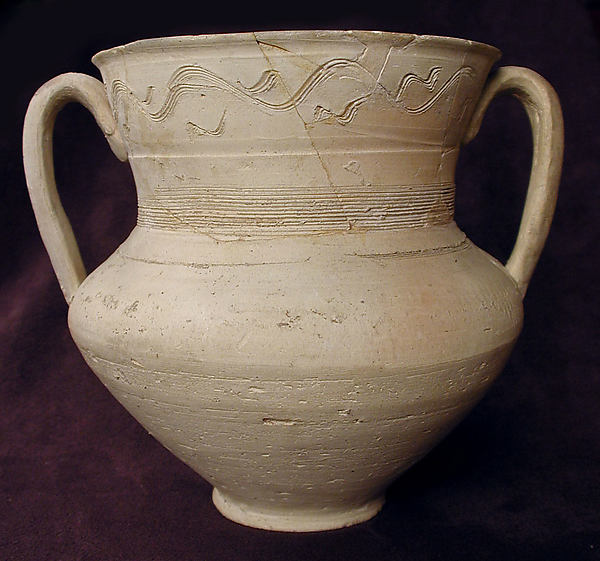 Ewer, Earthenware; incised, unglazed