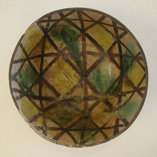 Bowl, Earthenware; polychrome decoration under transparent glaze (buff ware)
