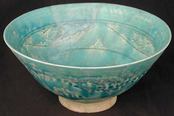 Bowl, Earthenware; white slip under turquoise glaze, incised