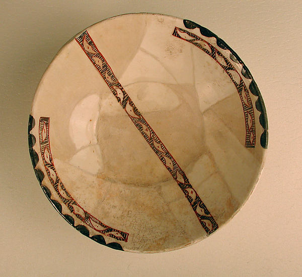Bowl, Earthenware; white slip with polychrome slip decoration under transparent glaze
