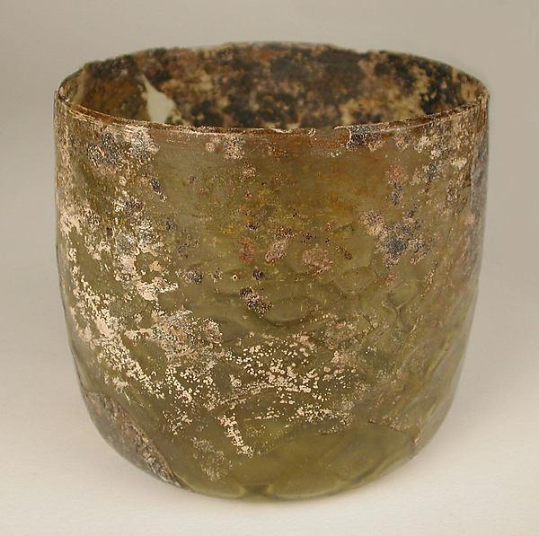 Glass Beaker, Glass, yellowish; dip molded, blown