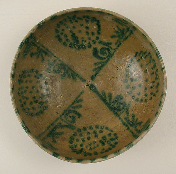 Bowl with Green Pseudo-Inscriptions and Clusters of Spots, Earthenware; yellow slip with green decoration under transparent glaze