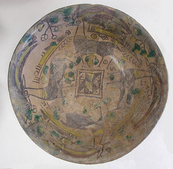 Bowl, Earthenware; painted in black slip and polychrome pigments under a transparent colorless glaze (buffware)