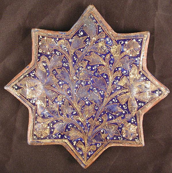 Star-Shaped Tile, Stonepaste; molded, overglaze painted and leaf gilded (lajvardina)