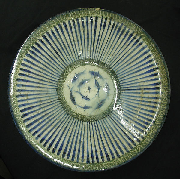 Bowl with Central Fish Motif, Stonepaste; incised and polychrome painted under transparent glaze