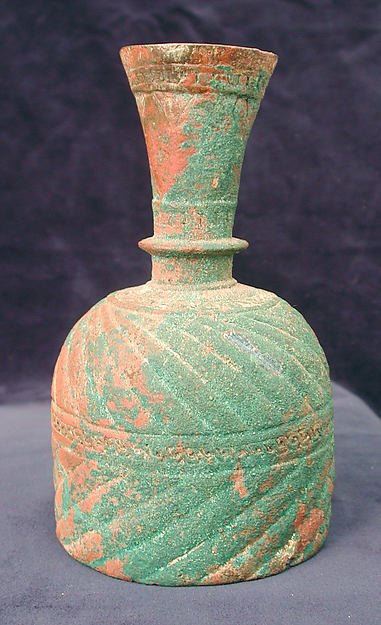 Bottle with Ribbed Design, Brass; cast, chased, inlaid with black compound