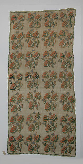 Cover, Cotton and silk-thread; embroidered