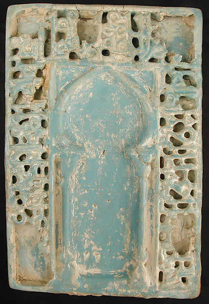 Tile with Niche Design, Stonepaste; molded, glazed, and carved