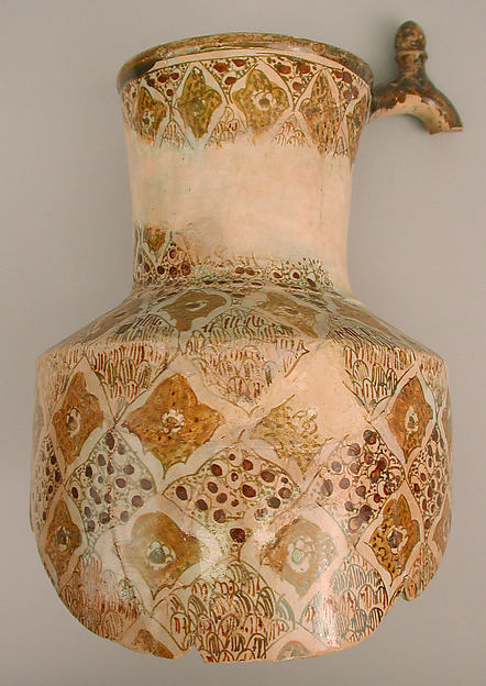 Fragmentary Ewer, Earthenware; polychrome luster-painted on opaque white glaze