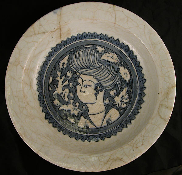Dish with a Portrait of a Man, Stonepaste; painted in blue under transparent glaze (Kubachi ware)