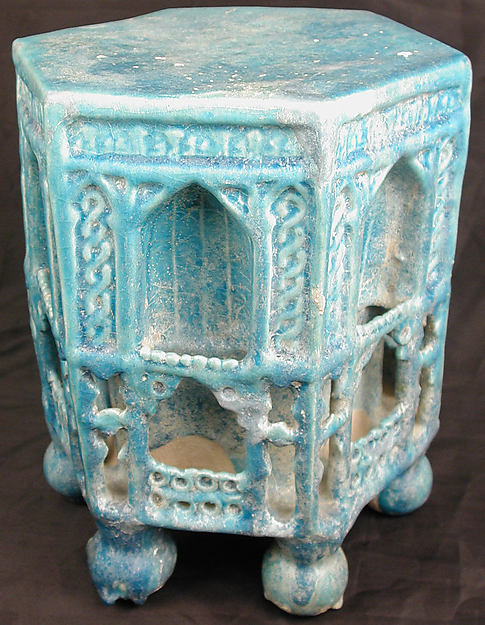 Low Table or Stand, Stonepaste; molded and modeled decoration, monochrome glazed