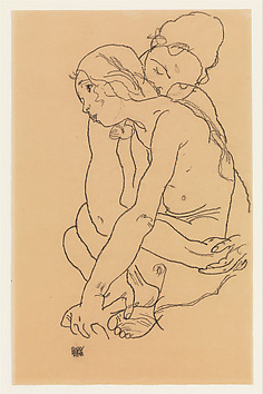 Woman and Girl Embracing