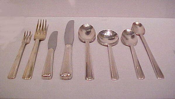 """20th Century Limited"" Teaspoon, Henry Dreyfuss (American, New York 1904–1972 South Pasedena, California), Silverplate, steel"