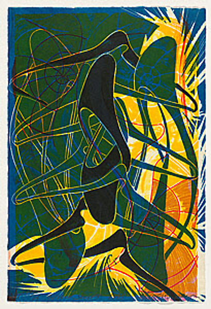 Wind shift, Steven Sorman (American, born 1948), Lithograph, woodcut