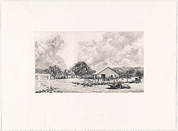 Spring Clouds, Ojai, California, Altoon Sultan (American, born Brooklyn, New York 1948), Drypoint, hand-watercolored by the artist