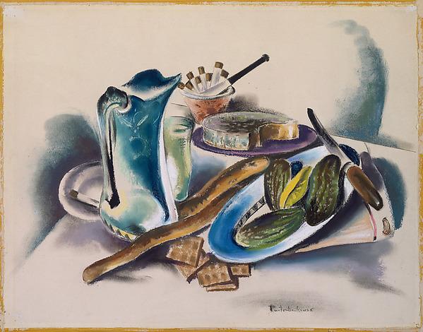 Still Life, Preston Dickinson (American, New York, New York 1889–1930 Irun, Spain), Pastel on paper, mounted on cardboard