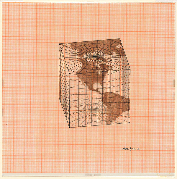 Study of Distortions; Isometric Systems in Isotropic Space-Map Projections: The Cube, Agnes Denes (American, born 1931), Watercolor, gouache and ink on graph paper and mylar