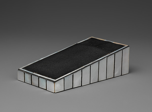Notepad holder, Josef Hoffmann (Austrian, Pirnitz 1870–1956 Vienna), Wood, mother-of-pearl, ebony, leather, suede