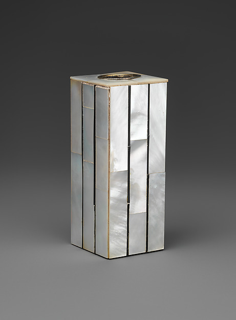 Candle holder, Josef Hoffmann (Austrian, Pirnitz 1870–1956 Vienna), Wood, mother-of-pearl, ebony, silver, suede