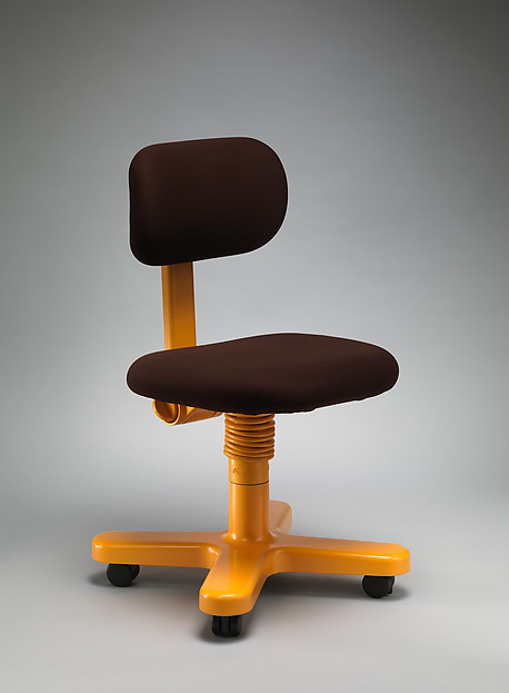 """Side Chair """"Synthesis 45"""" Office Furniture System, Ettore Sottsass (Italian (born Austria), Innsbruck 1917–2007 Milan), Aluminum, steel, plastic, synthetic foam, synthetic fabric"""
