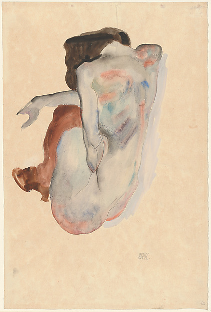 Crouching Nude in Shoes and Black Stockings, Back View, Egon Schiele (Austrian, Tulln 1890–1918 Vienna), Watercolor, gouache and graphite on paper